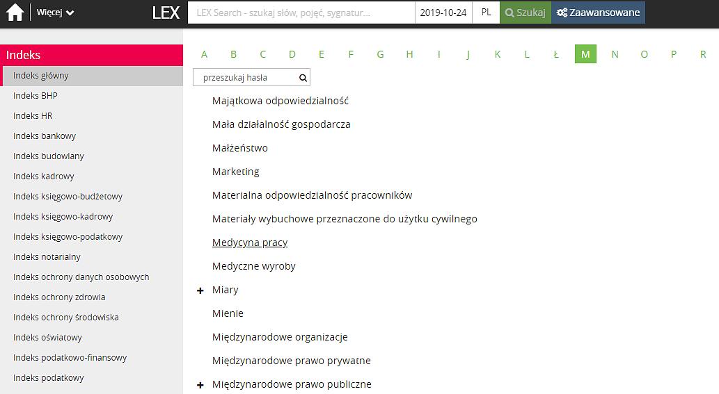 Widok haseł Indeksu w porządku alfabetycznym