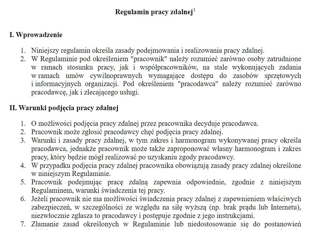 Fragment Regulaminu pracy zdalnej dostępnego w LEX Ochrona Danych Osobowych