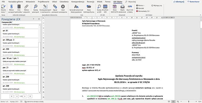 LEX Edytor, czyli Twoje narzędzie do pracy zdalnej przy tworzeniu pism i dokumentów, zachowujące aktualną podstawę prawną aktów i orzeczeń z LEX