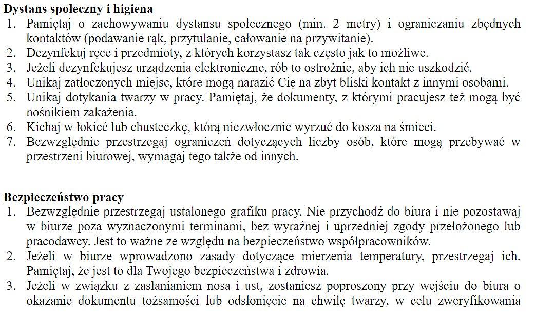 Fragment zasad pracy stacjonarnej w okresie epidemii