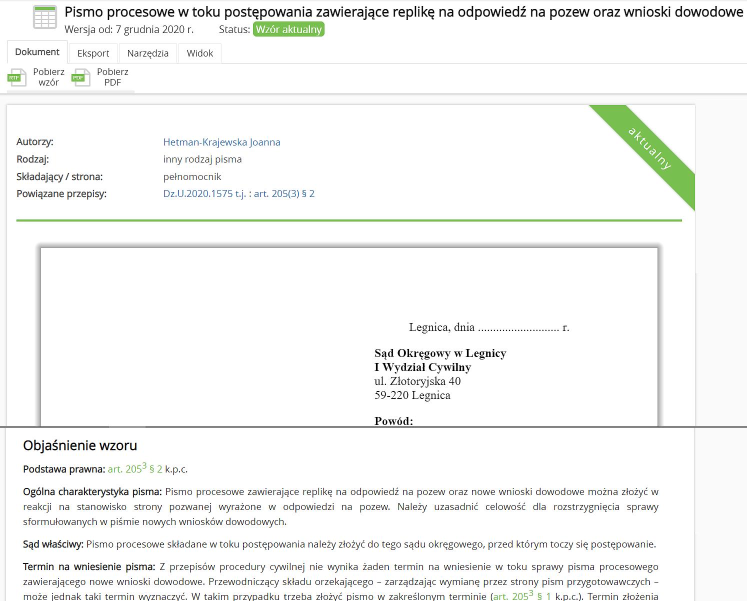 Autorskie objaśnienia wzorów pism procesowych i umów
