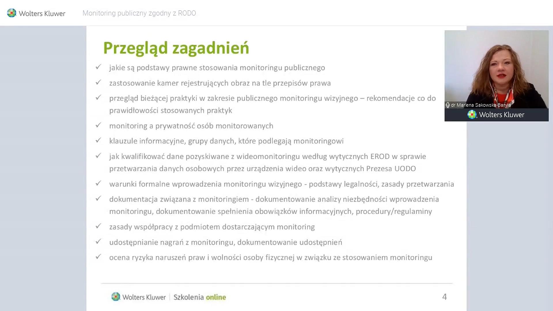 Fragment szkolenia online z LEX Ochrona Danych Osobowych o monitoringu publicznym
